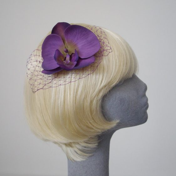 Purple Green Orchid Flower Hair Comb