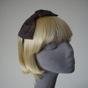 Purple Gold Glitter Tweed Bow Headband