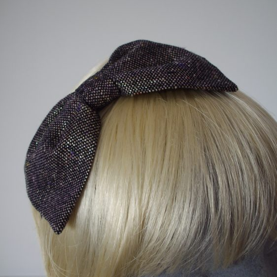Purple Gold Glitter Tweed Bow Headband detail2