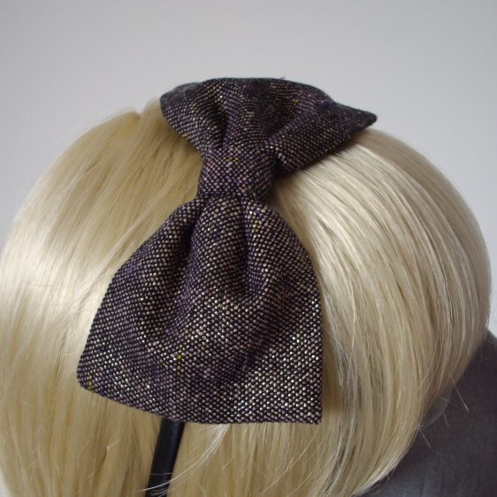 Purple Gold Glitter Tweed Bow Headband detail