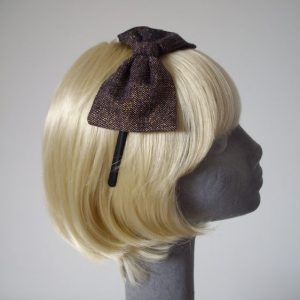 Purple Gold Glitter Tweed Bow Headband side