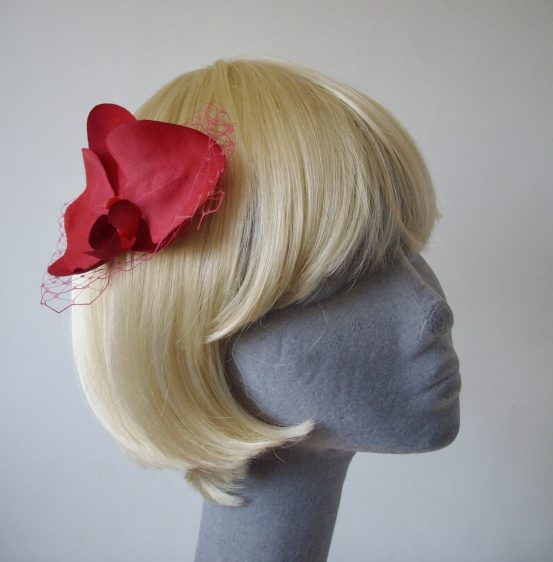 Raspberry Pink Orchid Flower Hair Comb angle