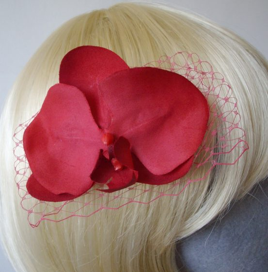 Raspberry Pink Orchid Flower Hair Comb detail2