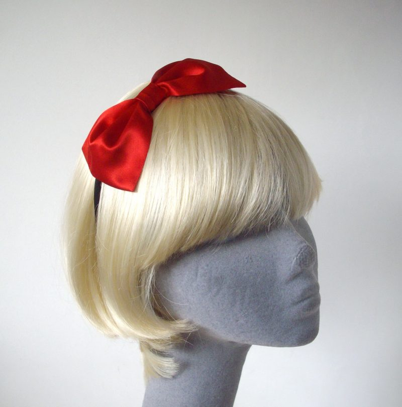 Red Satin Bow Headband