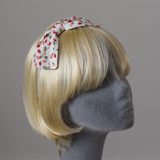 Ivory Strawberry Bow Headband