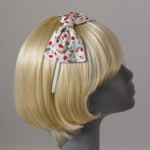 Ivory Strawberry Bow Headband side