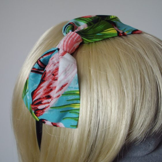Turquoise Flamingo Bow Headband detail2