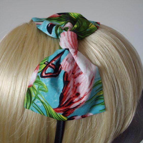 Turquoise Flamingo Bow Headband detail
