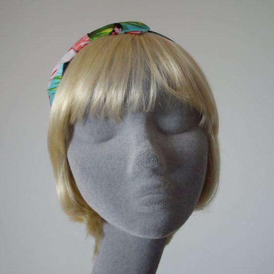 Turquoise Flamingo Bow Headband front