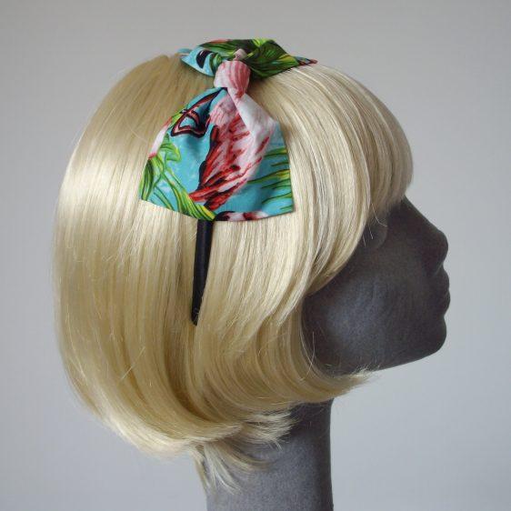 Turquoise Flamingo Bow Headband side