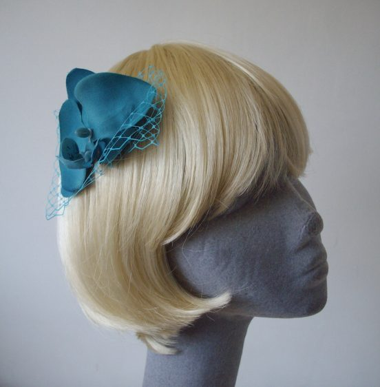 Turquoise Orchid Floral Hair Comb angle