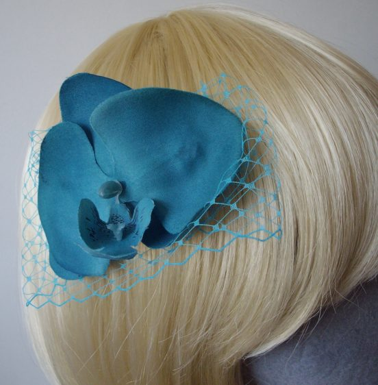 Turquoise Orchid Floral Hair Comb detail