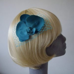 Turquoise Orchid Floral Hair Comb