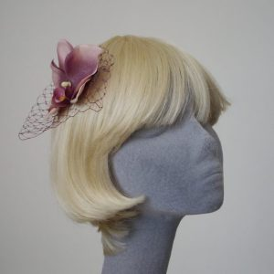 Damson Purple Orchid Flower Hair Comb angle