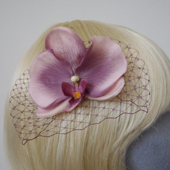 Damson Purple Orchid Flower Hair Comb detail2