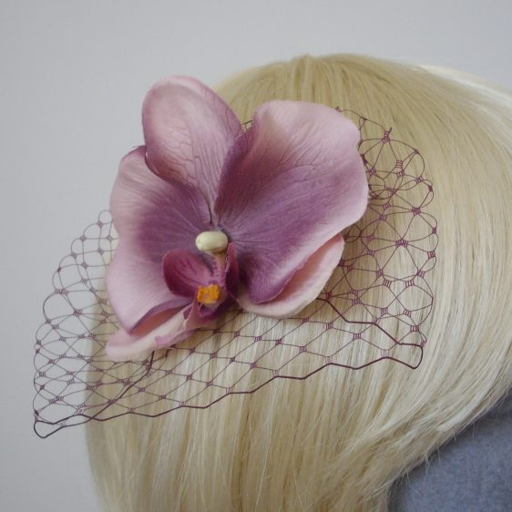 Damson Purple Orchid Flower Hair Comb detail