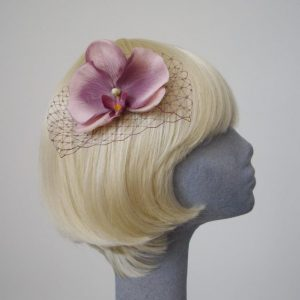 Damson Purple Orchid Flower Hair Comb