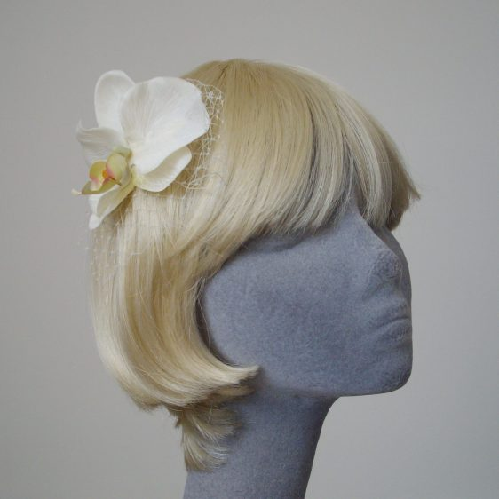Ivory Orchid Flower Hair Comb angle