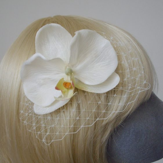 Ivory Orchid Flower Hair Comb detail2