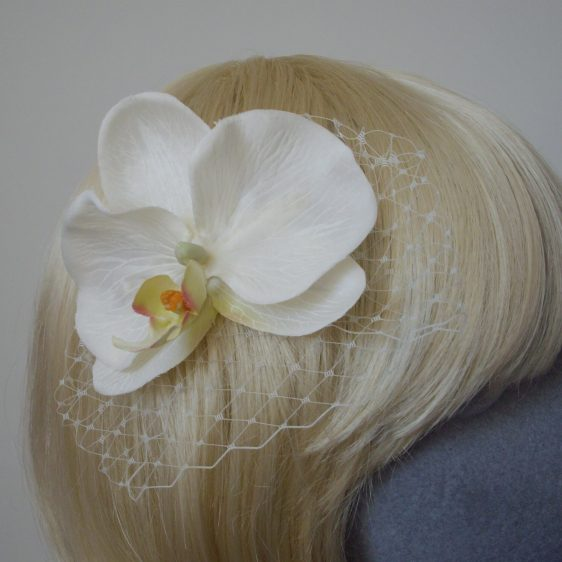 Ivory Orchid Flower Hair Comb detail
