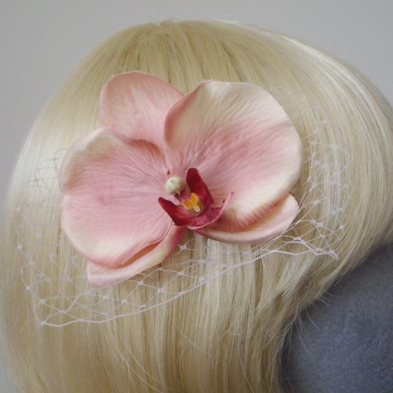 Pale Pink Orchid Flower Hair Comb detail2