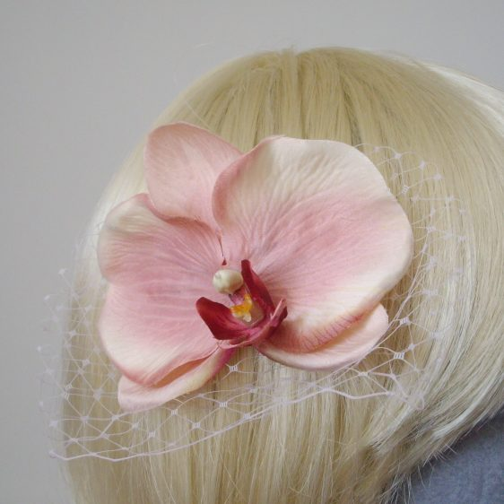 Pale Pink Orchid Flower Hair Comb detail