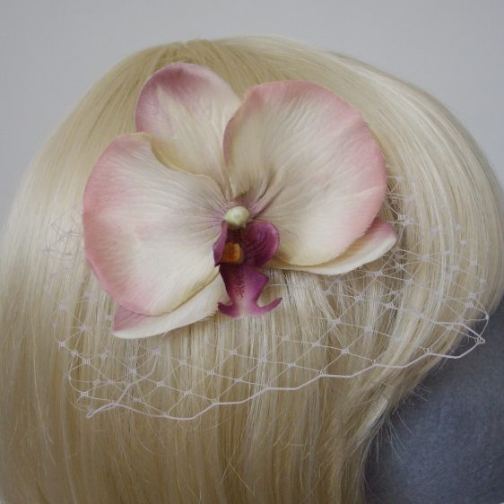 Purple Shaded Orchid Flower Hair Comb detail2