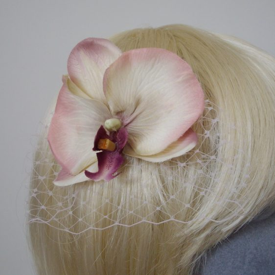 Purple Shaded Orchid Flower Hair Comb detail