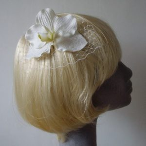 White Orchid Flower Hair Comb