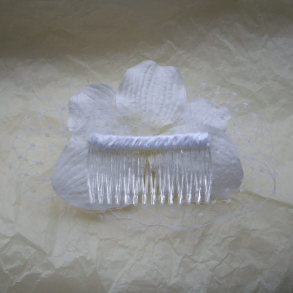White Orchid Flower Hair Comb back
