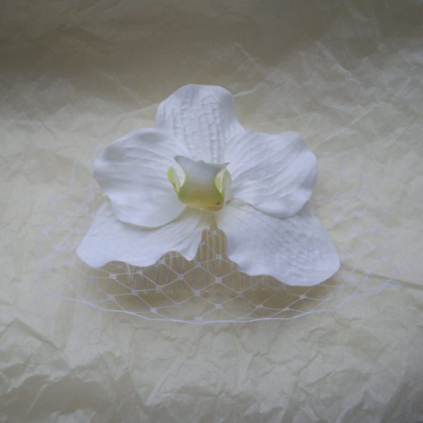 White Orchid Flower Hair Comb front