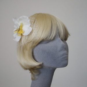 White Yellow Orchid Flower Hair Comb angle