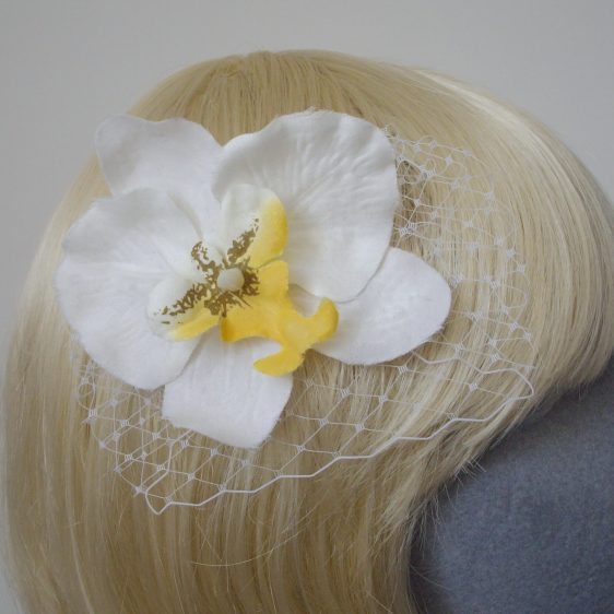 White Yellow Orchid Flower Hair Comb detail2