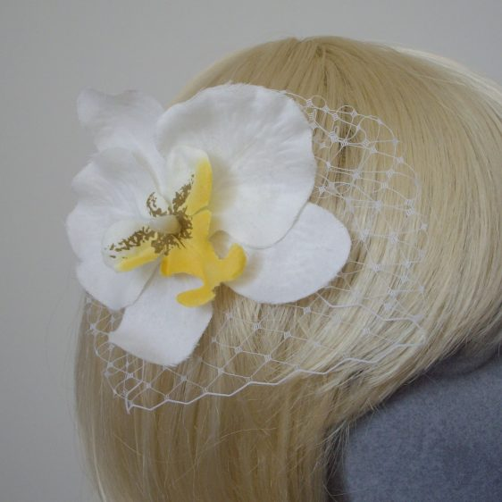 White Yellow Orchid Flower Hair Comb detail