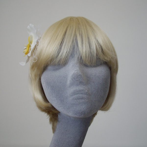 White Yellow Orchid Flower Hair Comb front