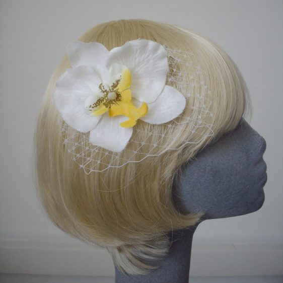 White Yellow Orchid Flower Hair Comb
