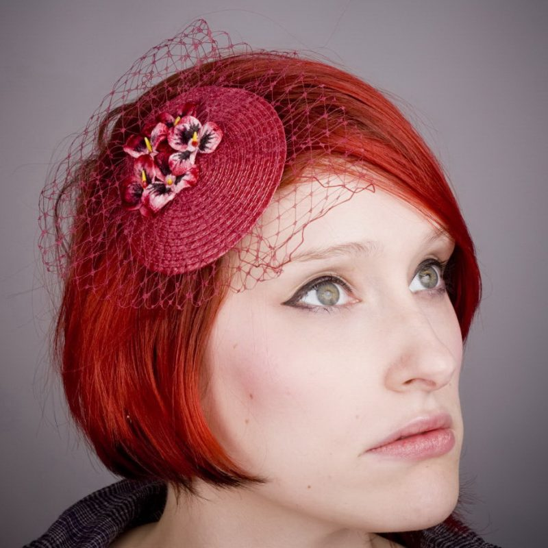 Wine Red Pansy Flower Fascinator