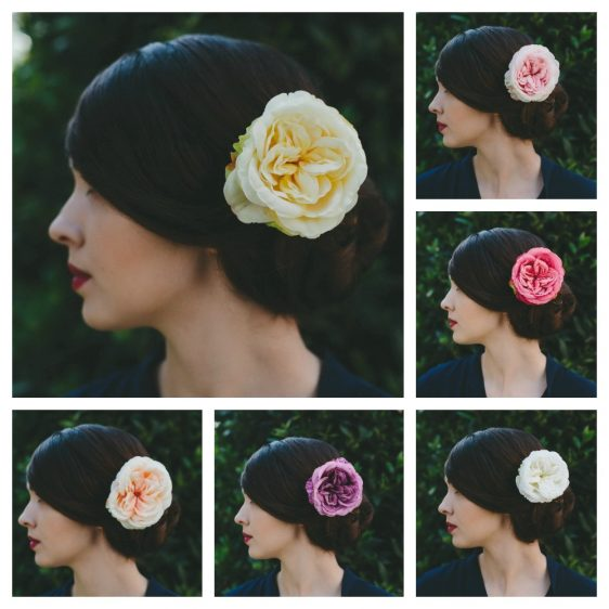 Pale Yellow Rose Hair Clip collage
