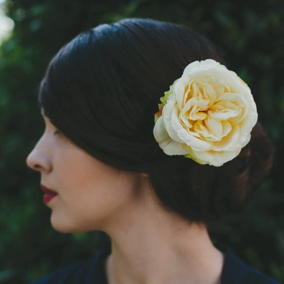 Pale Yellow Rose Hair Clip