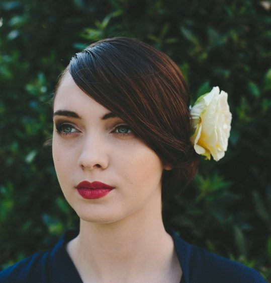 Pale Yellow Rose Hair Clip angle