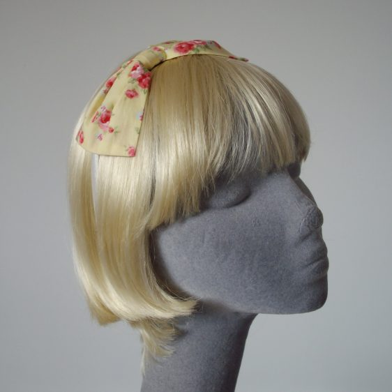 Yellow Pink Rose Floral Bow Headband