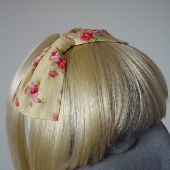 Yellow Pink Rose Floral Bow Headband detail2