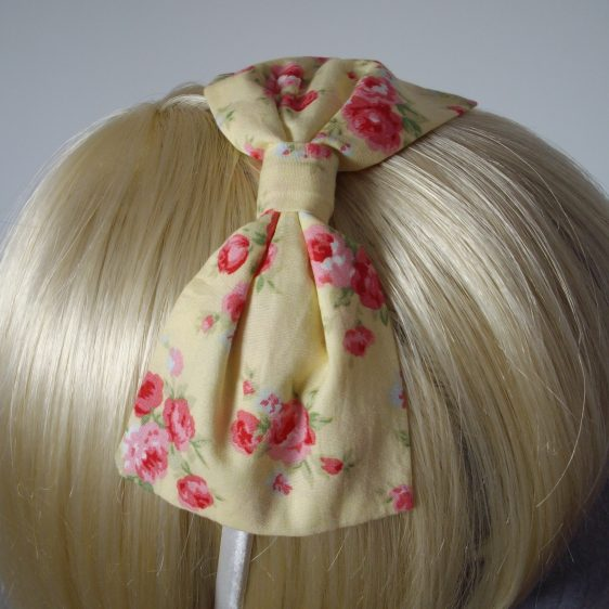 Yellow Pink Rose Floral Bow Headband detail