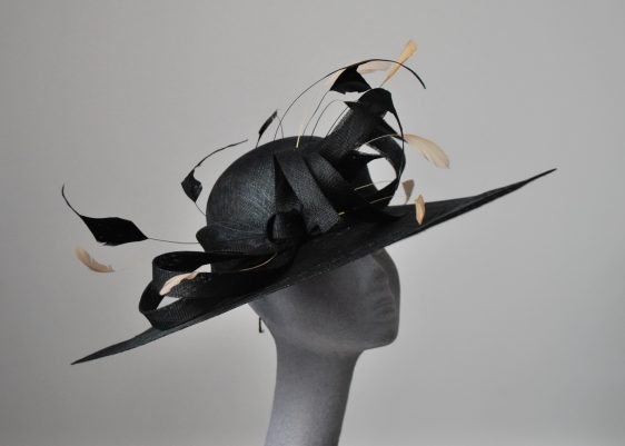 Almond Feather Re-trimmed Hat