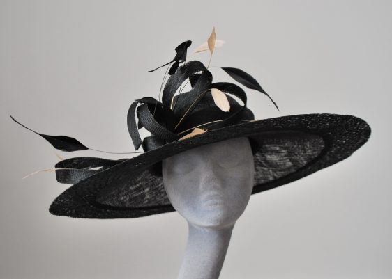Almond Feather Re-trimed Hat