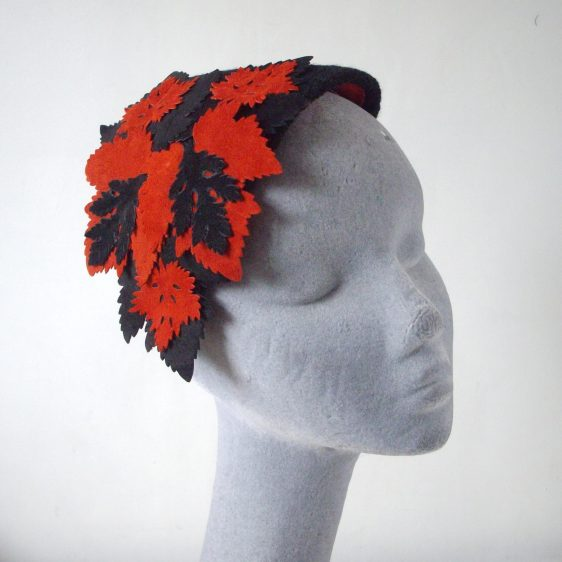 Black and Red Wool Half Hat with Leather Leaves