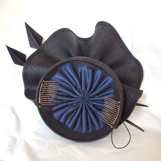 Black Straw Reworked Hat lining