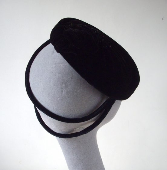 Black Velvet Tilt Hat with Beading