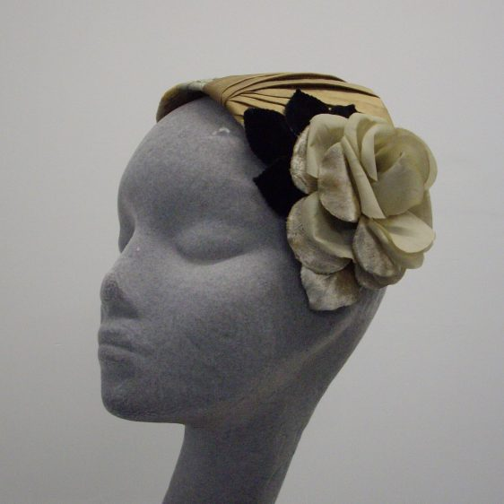 Gold Brocade and Silk Pleated Half Hat