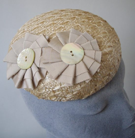 Natural Straw Button Hat with Ribbon Rosettes